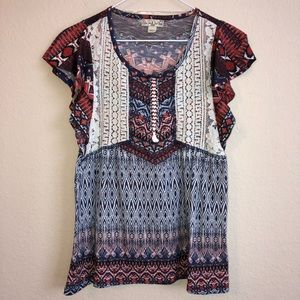Live And Let Live Boho Top Lace Front Print Trendy